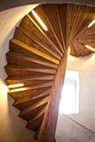 Escaleras de madera de la iglesia gótica Imagen de archivo libre de regalías