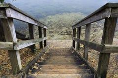 Escaleras de madera rústicas que llevan abajo al pequeño aterrizaje en los fres claros Imagen de archivo libre de regalías