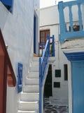 Escaleras de Mykonos Foto de archivo libre de regalías