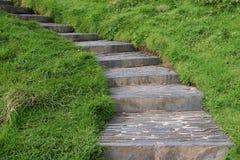 Escaleras de piedra en el campo Fotos de archivo libres de regalías