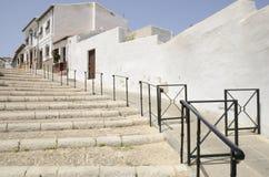Escaleras del guijarro en Antequera Foto de archivo