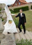 Escaleras del parque de los pares de la boda Imagenes de archivo