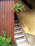 Escaleras en casa del alpin con los crisoles de flor Foto de archivo libre de regalías