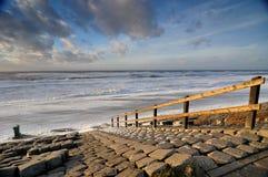 Escaleras en la playa en Holanda Imagenes de archivo