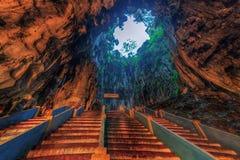 Escaleras en las cuevas Imágenes de archivo libres de regalías