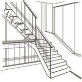Escaleras interiores del bosquejo arquitectónico en el fondo blanco stock de ilustración