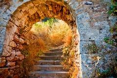 Escaleras a la fortaleza de Palamidi, Nafplio Imagen de archivo
