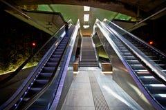 Escaleras móviles en la estación de la tranvía del ZAR Genil del ¡de AlcÃ, Granada Imagen de archivo libre de regalías