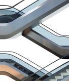 Escaleras modernas de la escalera móvil en el edificio de oficinas Imagen de archivo libre de regalías