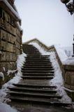 Escaleras nevosas viejas Imágenes de archivo libres de regalías