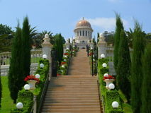Escaleras que llevan al templo de Bahai Fotos de archivo