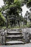 Escaleras que suben en un cementerio Foto de archivo libre de regalías