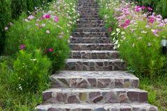 Escaleras rodeadas por las flores del beautifull Imagen de archivo