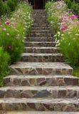 Escaleras rodeadas por las flores del beautifull Foto de archivo libre de regalías