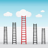 Escaleras rojas hasta el concepto del negocio del éxito de la nube Fotografía de archivo libre de regalías