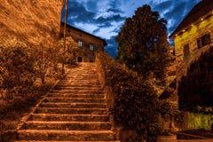 Escaleras sangradas del castillo Fotos de archivo libres de regalías