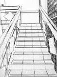 Escaleras, subiendo para arriba, blanco y negro, dibujando, proceso de la foto imagenes de archivo