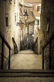 Escaleras viejas de la ciudad, ciudad superior, Zagreb, Croacia imagen de archivo libre de regalías