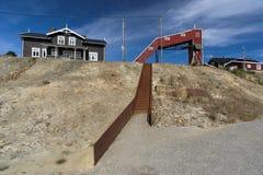 Escaleras viejas del moho en la mina de cobre, Foldall Fotos de archivo libres de regalías