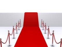 Escaleras y alfombra roja Imagenes de archivo