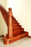 Escaleras y barandilla de madera Fotografía de archivo libre de regalías