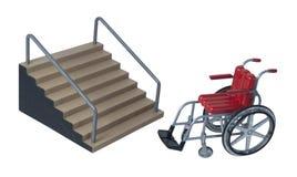 Escaleras y silla de ruedas Foto de archivo libre de regalías