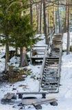 Escalier à un endroit de feu de camp Photos libres de droits