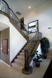 escalier élégant de caisse de rampe en bois photographie stock libre de droits