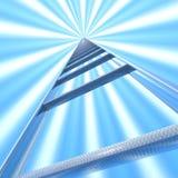 Escalier au ciel sur le fond des rayons bleus et blancs illustration libre de droits