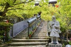 Escalier au Maniden Hall dans Daisho dans le temple, Japon Image libre de droits