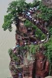 Escalier au site de Bouddha de géant dans Leshan images libres de droits