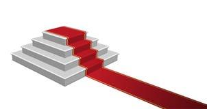 Escalier avec le tapis rouge, illustration de vecteur Photographie stock libre de droits