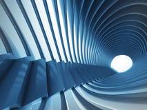 Escalier bleu de tunnel avec la construction futuriste autour Image stock
