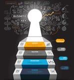 Escalier d'affaires avec des icônes de trou principal et de griffonnages illustration de vecteur