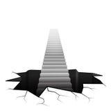 Escalier d'infini se levant de la surface criquée Images libres de droits