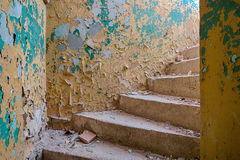 Escalier dans un bâtiment abandonné et oublié Photos libres de droits