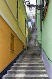 Escalier dans un village ligurien de côte photos libres de droits