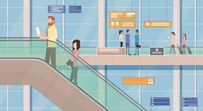 Escalier de Hall Departure Terminal Interior Moving d'aéroport de passagères de personnes Images libres de droits