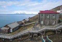 Escalier du port dans Barentsburg, le Svalbard Photographie stock