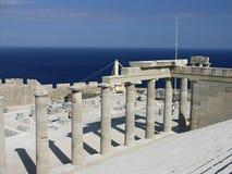 Escalier du Propylaea dans Lindos, Grèce Photographie stock