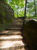 Escalier en pierre en collines de Hocking Photo stock