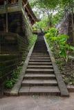 Escalier en pierre ombragé au bâtiment chinois antique de flanc de coteau Photographie stock