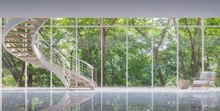 Escalier en spirale dans l'image en verre de rendu de la maison 3D Image stock