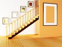 Escalier et peintures dans la chambre Photographie stock