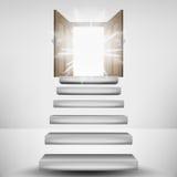 Escalier faisant de la lévitation menant à la fusée de porte de ciel Image libre de droits