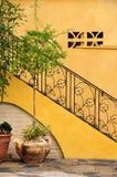 Escalier fleuri et murs jaunes Photographie stock