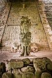 Escalier hiéroglyphique aux ruines maya - site archéologique de Copan, Honduras image stock