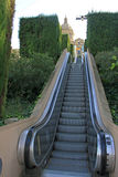 Escalier mobile ou escalator à Art Museum national de la Catalogne (MNAC) à Barcelone Image libre de droits