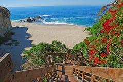 Escalier pour ajourner la plage de roche, Laguna Beach, CA Image stock
