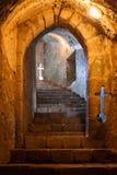 Escalier souterrain avec des Embrasures dans le château de Feira Photographie stock libre de droits